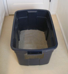 A blue Rubbermaid storage tote turned into a litterbox by cutting a hole in the end.