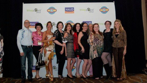 a group of BlogPaws 2012 attendees at the red carpet event.