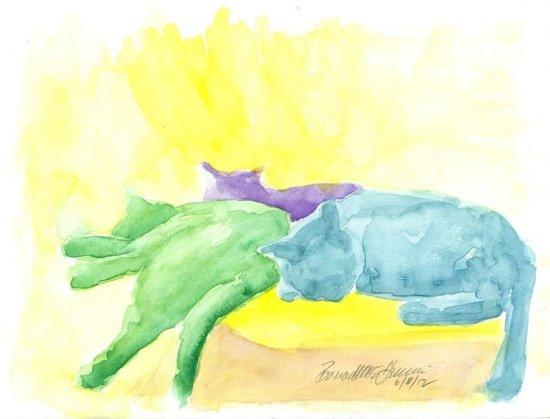 """""""Lazy Cats, Sunday Afternoon"""" by Bernadette Kazmarski"""