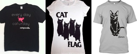 Three T-shirts for the discerning cat fan