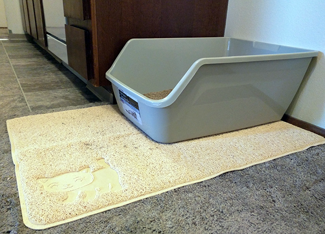The Smiling Paws litter mat is more than big enough for my large litter box.