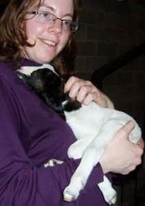 Mama and Lightning the baby goat