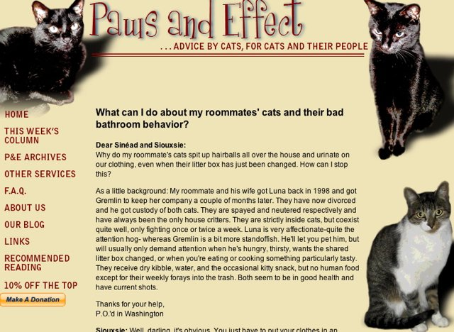 Screen capture of the first version of Paws and Effect