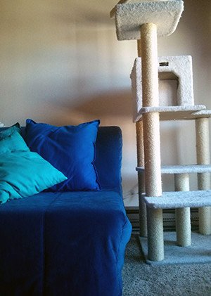 A tall cat tower with sisal scratching posts stands next to a couch.